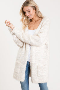 Winter White Popcorn Cardigan