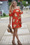 Red Roses Floral Off Shoulder Dress