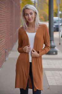 Rust Ribbed Open Front Cardigan