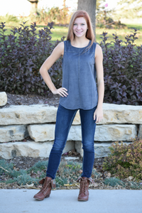 Grey Suede Sleeveless Top - urbanity online