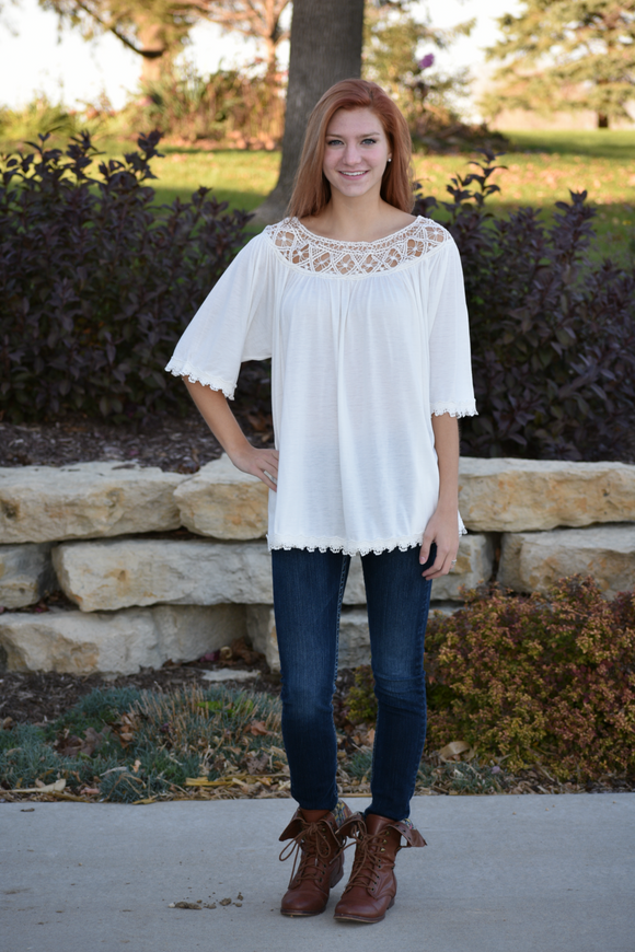 Half Sleeve Top with Crochet and Lace detail - urbanity online