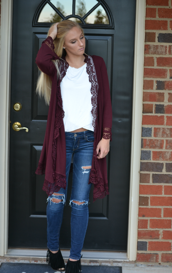 3/4 Sleeve Cardigan with Crochet Trim - urbanity online