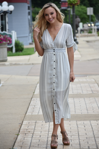 Sabrina Striped Midi Dress