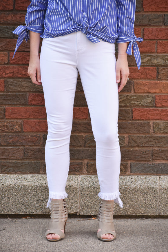 Sally Jane Skinny Fray Hem White Jeans
