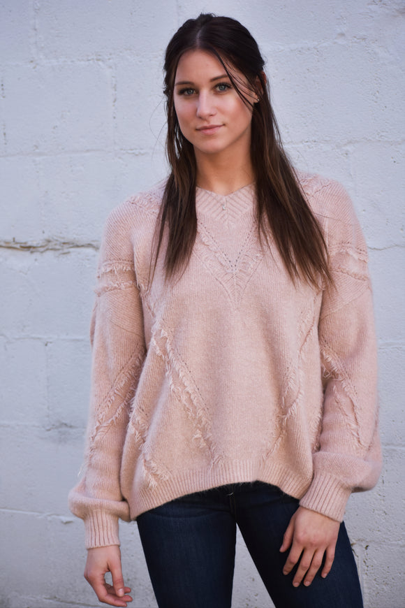 Shania Distressed V Neck Sweater