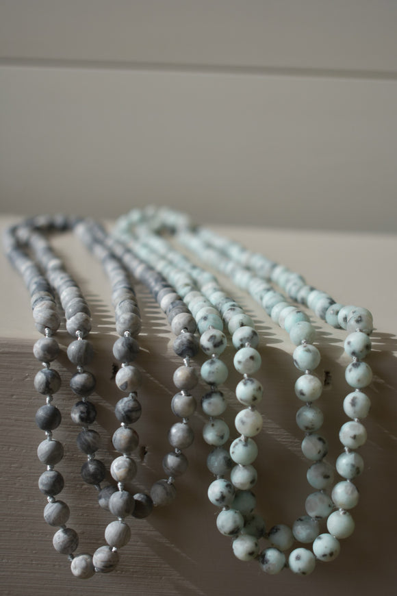 Long  Stone Beaded Necklace