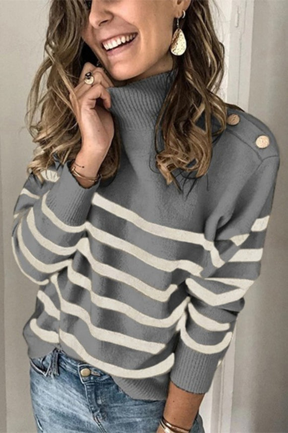 Stripes Have It Turtleneck Sweater
