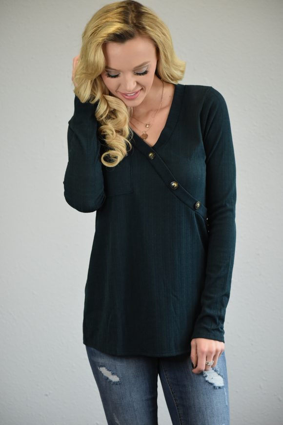 Surplice Side Button Top