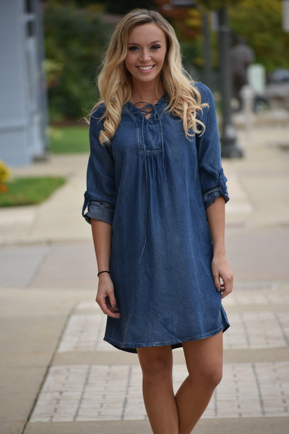 Tencel Washed Denim Lace Up Dress