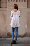 Scoop Neck Top with Embroidered Sleeve and Bodice - urbanity online