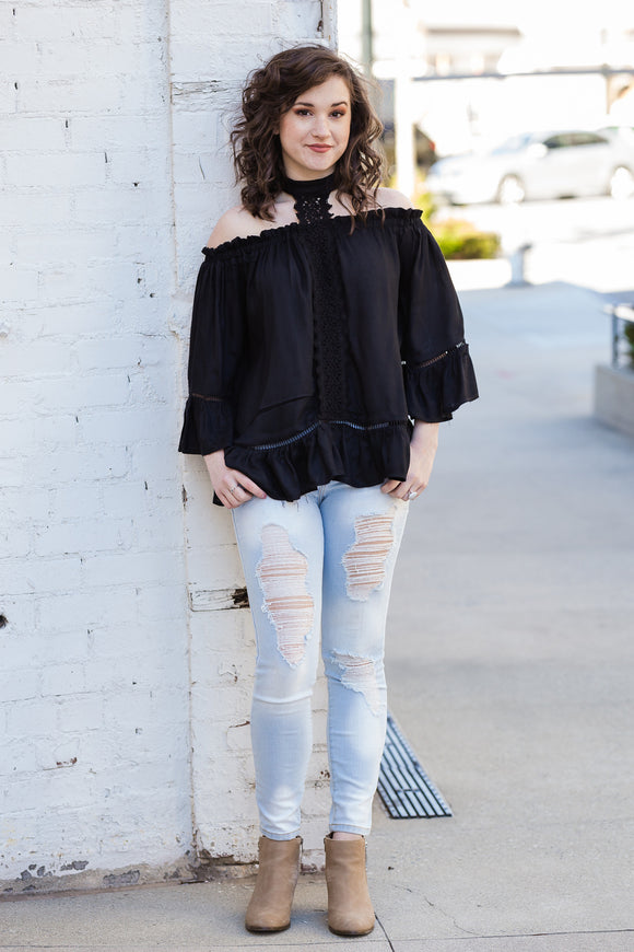 Long Sleeve Off Shoulder Top with Choker Neck and Lace Detail