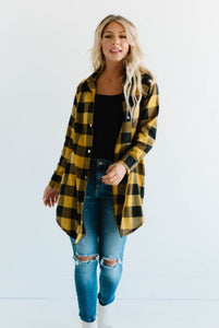Val Longline Button Up Flannel Top