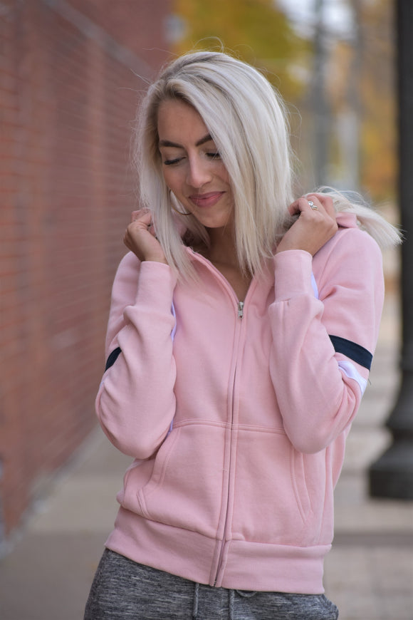 Varsity Striped Zip Up Hoodie