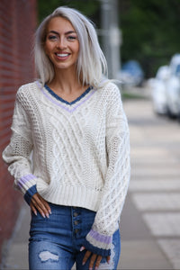 Varsity Cable Knit Sweater