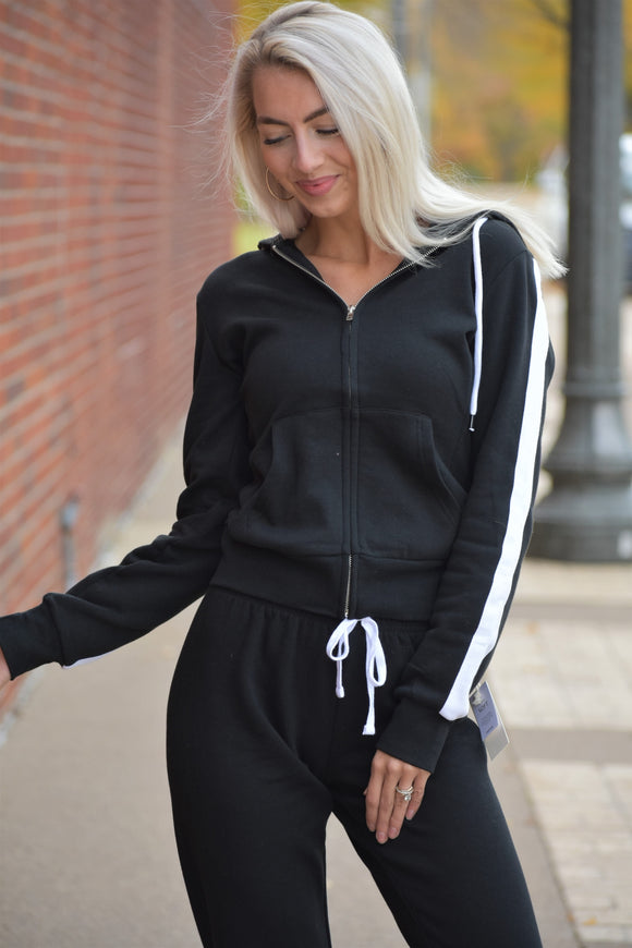 White Striped Sleeve Zip Up Hoodie