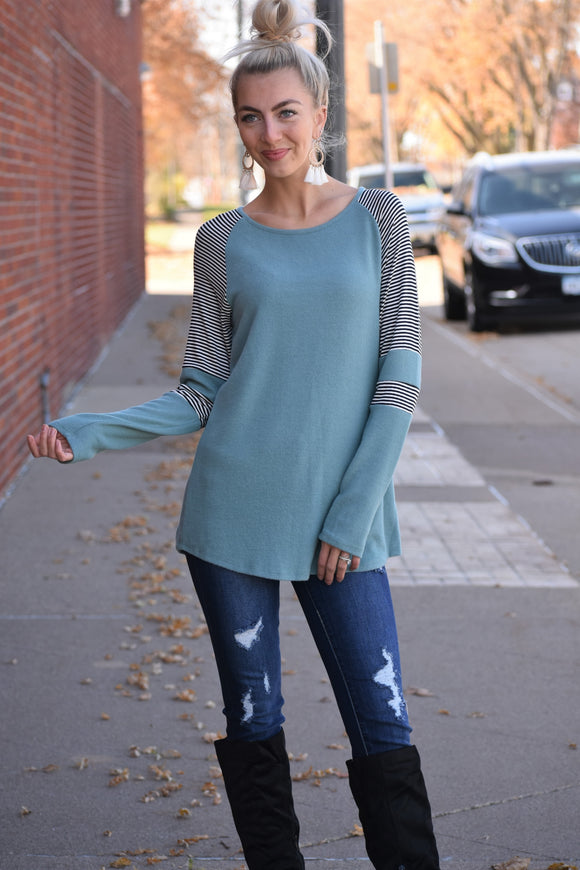 Winter Blue Striped Sleeve Top