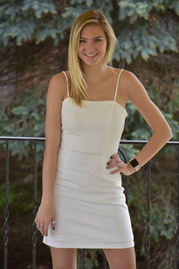 Dahlia White Stretch Dress