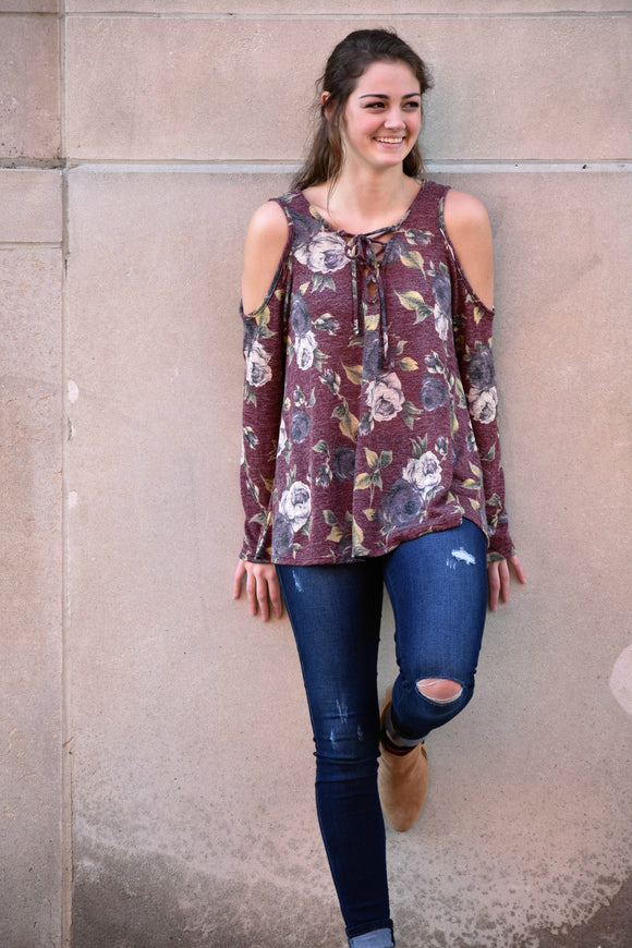 Floral Cold Shoulder V-Neck with Lace-Up Top - urbanity online