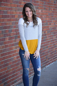 Krista Color Block and Stripe Top