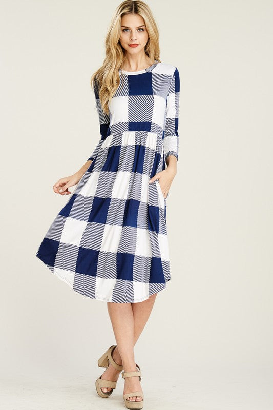Cassandra Plaid Fit and Flare Dress