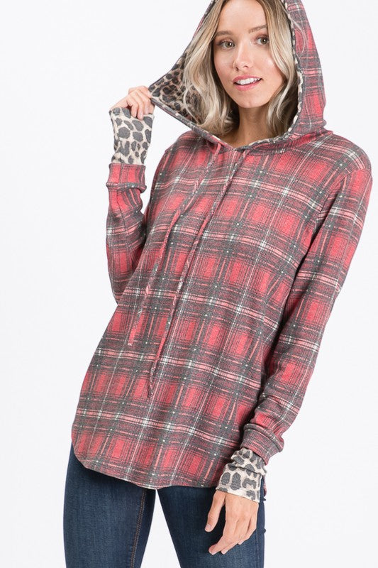 Corrinna Plaid Animal Print Hooded Thermal
