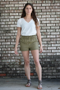 Roma Olive Paperbag Shorts