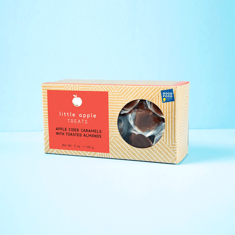 Image of Toasted Almond apple cider caramel box. Good food awards winner