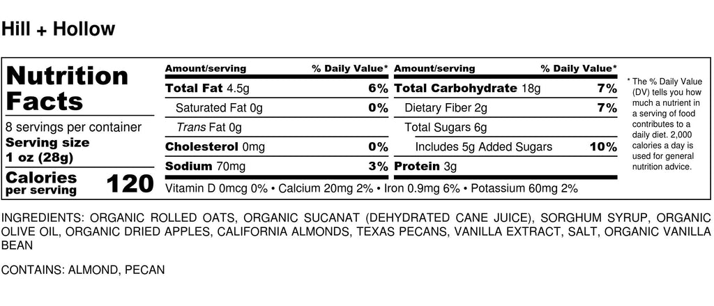 Nutritional Info for Hill + Hollow Blend Granola