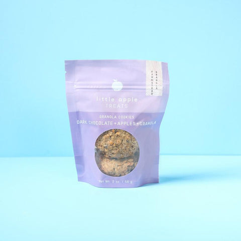 small purple bag of granola cookies