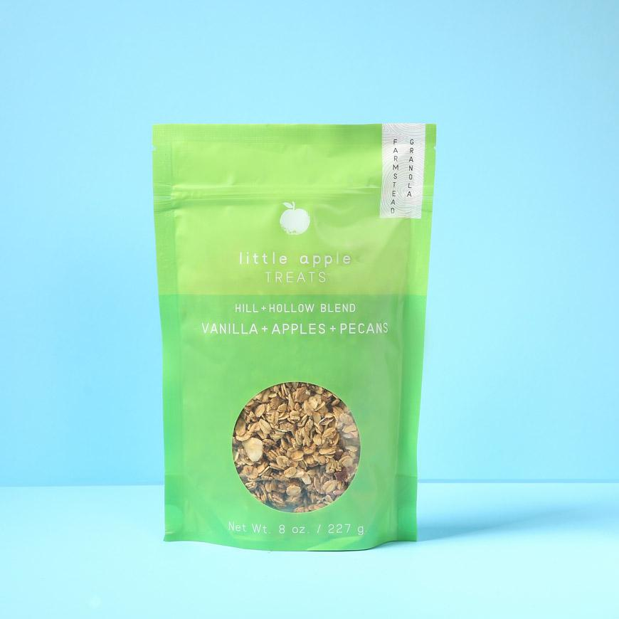 large green bag with granola hill and hollow blend
