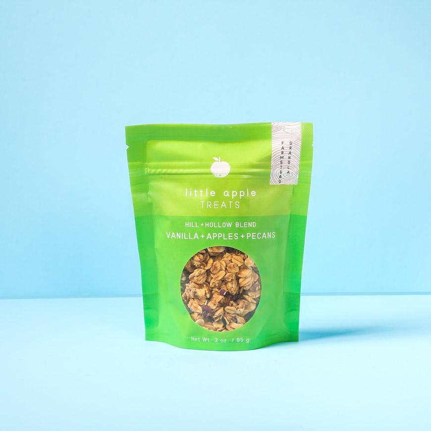 small green bag with granola hill and hollow blend