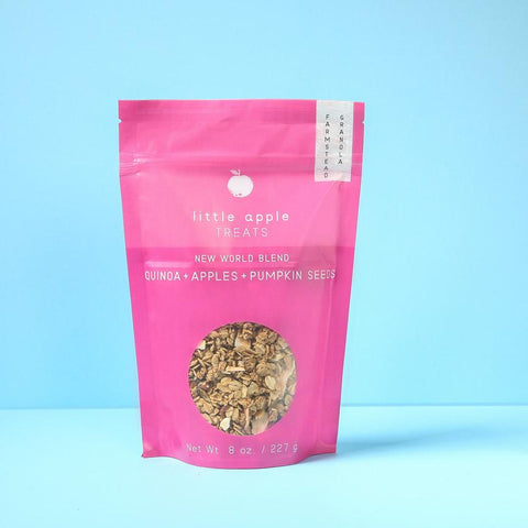 large pink bag with granola new world blend