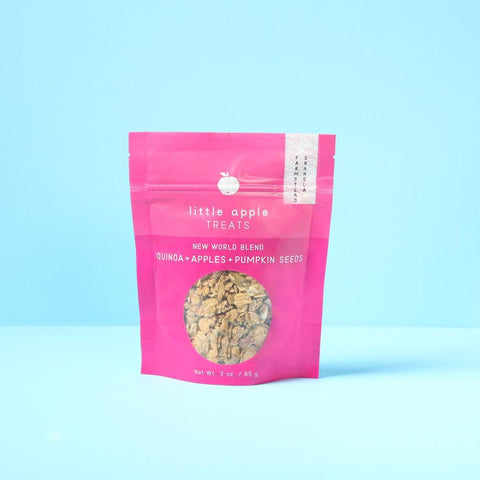 small pink bag of granola new world blend