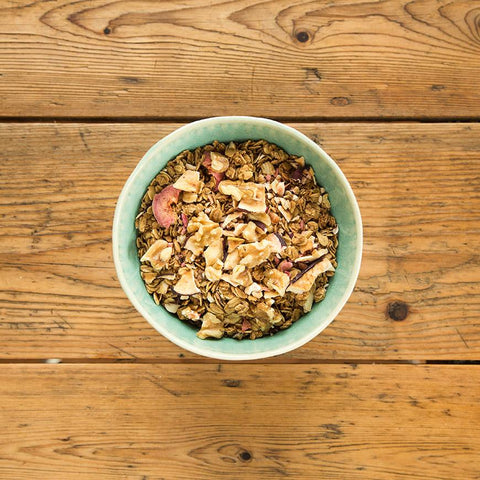 granola in bowl on wood orchard blend