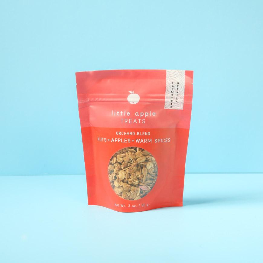 small red bag of granola orchard blend