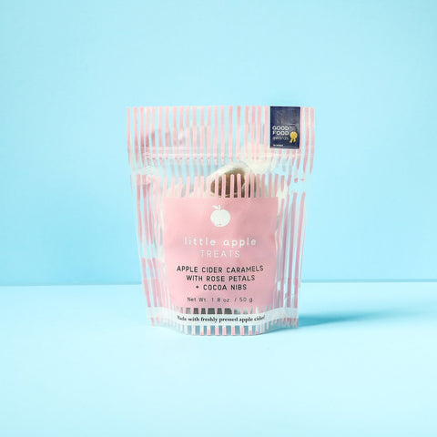 Image of pink dashes treat pack caramels with rose petals and cocoa nibs