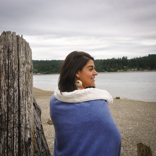Native & Metis Blue Sherpa Blanket: My Calling is Culture Collection - Soul Curiosity