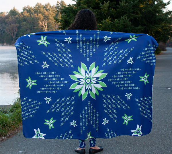 Native & Metis Floral Sherpa Blanket: Sovereign Seahawk - Soul Curiosity