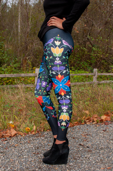 Native & Metis Floral Leggings: Fire & Ice Collection