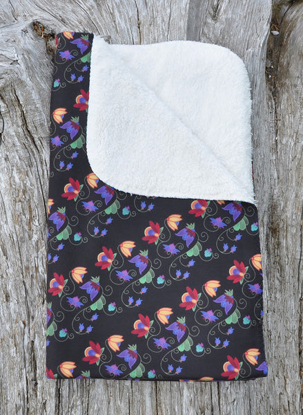 Native & Metis Floral Sherpa Blanket: Renewal Collection - Soul Curiosity