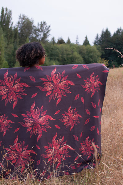 Authentic Native & Metis Plumb Sherpa Blanket: Fire Collection - Soul Curiosity