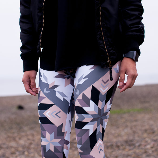 Native & Metis Geometric Floral Leggings: Air Collection - Soul Curiosity