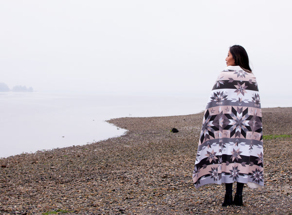 Native & Metis Star Floral Sherpa Blanket: Air Collection - Soul Curiosity