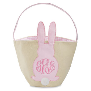 Mudpie Pink Canvas Easter Bunny Basket