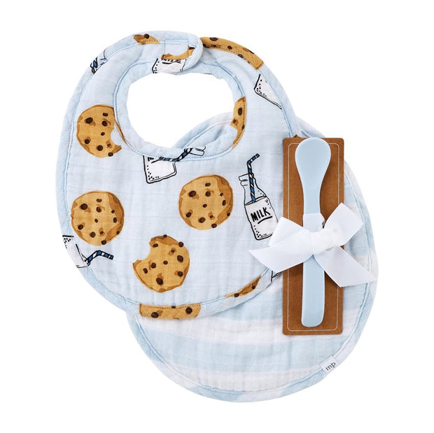 Cookies & Milk Bib Set - Blue