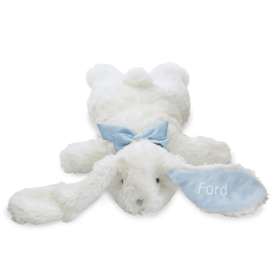 Personalized Mudpie Blue Floppy Velour Plush Bunny