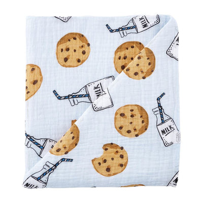 Cookies & Milk Muslin Swaddle - Blue