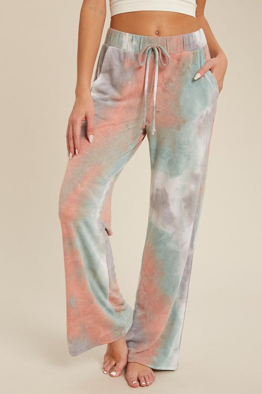 Jade Wide-leg Tie Dye Lounge Pants