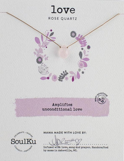 Soulku Rose Quartz Necklace for Love