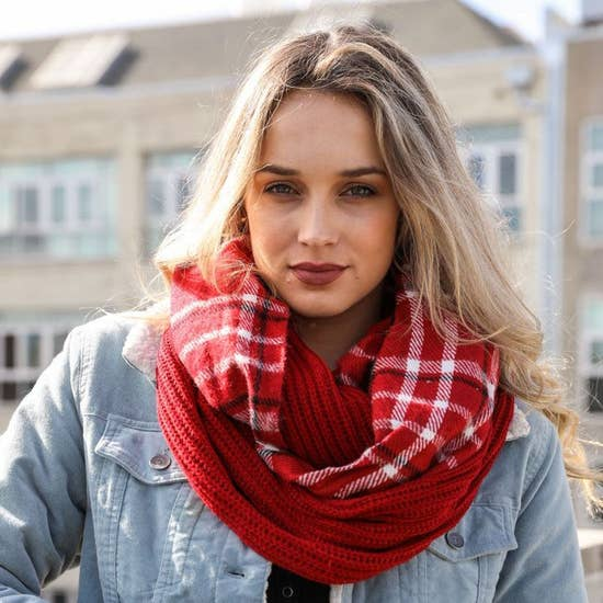 Red Flannel Infinity Scarf